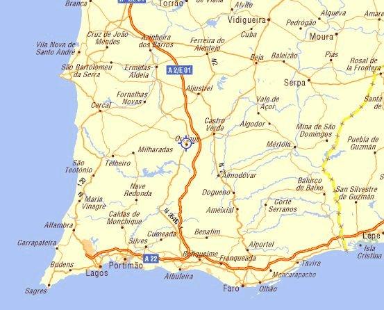 Location - Portugal map lisbon to algarve